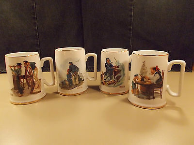 Norman Rockwell Museum Cups Mugs Tankards Set of 4 Fisherman Sea 1985 - EUC!