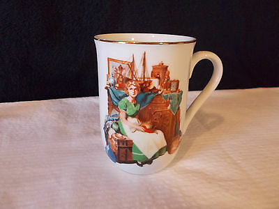 Norman Rockwell cup mug Dreams in the antique shop 1986
