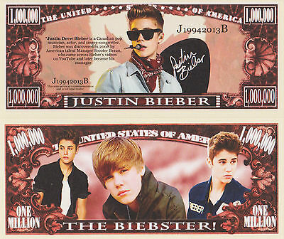 RARE: Justin Bieber $1,000,000 A/graphed Novelty Nte, Music. Buy 5 Get one FREE