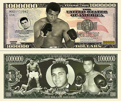 RARE: Muhammad Ali $1,000,000 A/graphed Novelty Note, Boxing Buy 5 Get one FREE