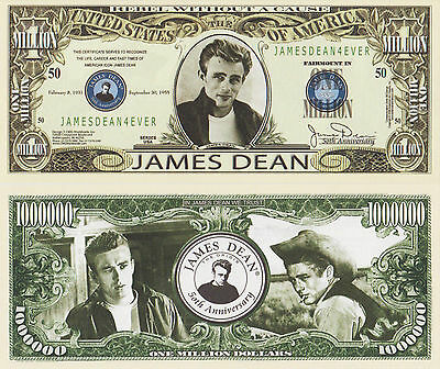 RARE: James Dean $1,000,000 Novelty Note, Movies Buy 5 Get one FREE