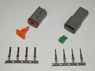 4X Gray Deutsch Dt Series Connector Set 16-18-20 Ga Stamped Nickel Terminals