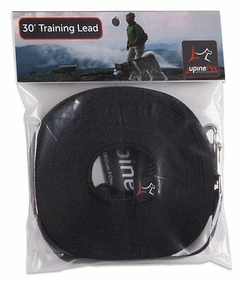 Lupine 30-Feet Training Lead for Small and Medium Dogs, 1/2-Inch, Black