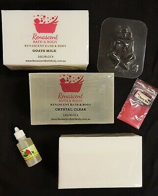 SOAP MAKING KIT: Melt and Pour MP Soap, Mould, Oil, 2 x Colours - SLS/SLES FREE