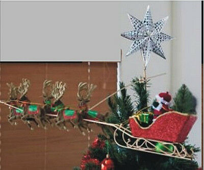 Christmas Santa Sleigh Flys Over Your Tree Topper or Ornament FABulous