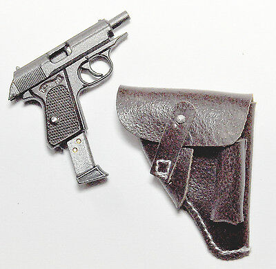 1/6 Scale DID Major Achbach WWII GERMAN PISTOL PPK AND BROWN LEATHER HOLSTER