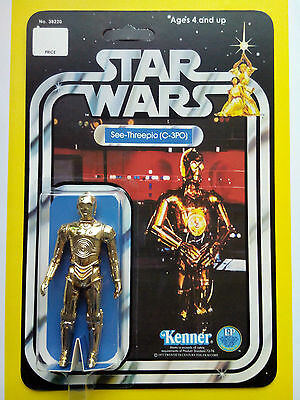 VINTAGE 1977 C3PO SEE THREEPIO BY KENNER TOYS CINCINATTI ON STAR WARS 12 BACK