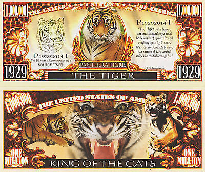 RARE: The Tiger $1,000,000 Novelty Note, Wild Animals Buy 5 Get one FREE