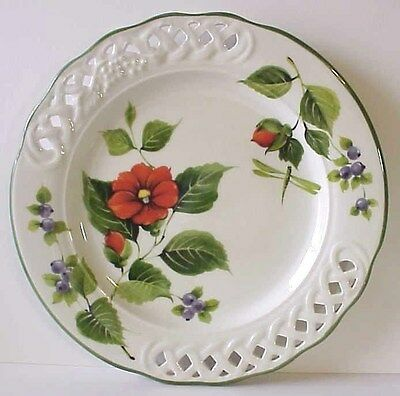 Brunelli Italy Lattice Blueberry fruit Poppy flower Dragonfly Dinner Plate 10.5""