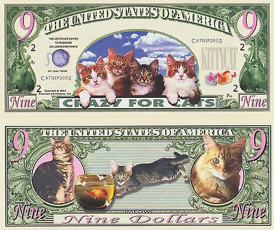 RARE: Cats - Crazy For Cats $9.00 Novelty Note, Feline Buy 5 Get one FREE