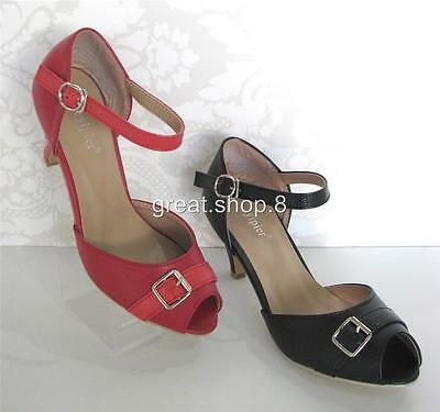 BLACK, RED Women's Comfy Dancing PEEP-TOE Ankle Strap Heels With Buckle Front