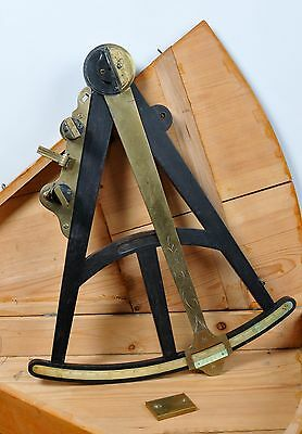 Large Antique early 19C Ebony Wood & Engraved Brass Cased Octant Bone Scale