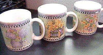 Set of 3 Debbie Mumm Spring Bouquet Sakura Coffee/Tea/Latte Mug/Cups Floral
