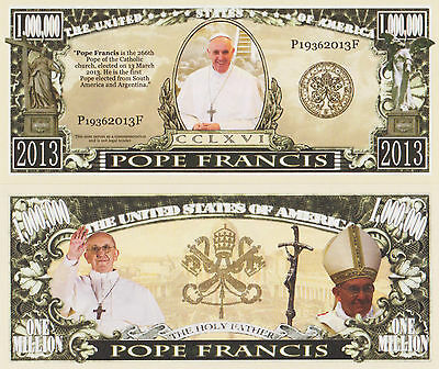 RARE: Pope Francis $1,000,000 Novelty Note, Religion Buy 5 Get one FREE