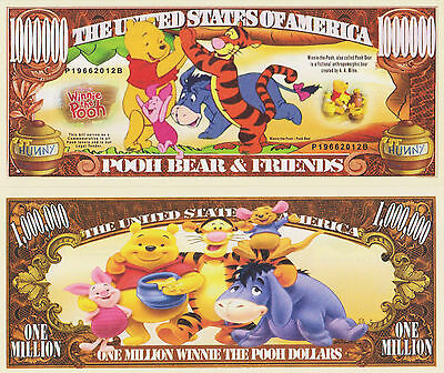 RARE: Pooh Bear & Friends $1,000,000 Novelty Note, TV Shows Buy 5 Get one FREE