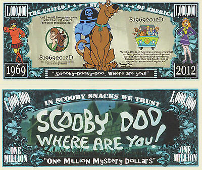 RARE: Scooby Doo $1,000,000 Novelty Note, TV Shows Buy 5 Get one FREE
