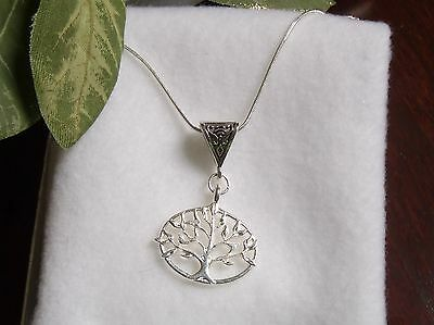 "Bali Design.925 Sterling Silver Tree of Life Necklace 18"" Life,  Love & Eternity"