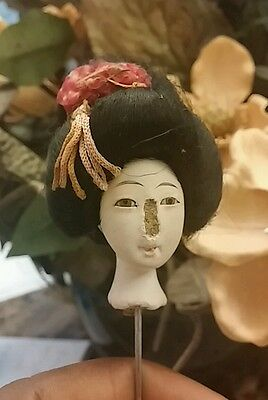 Antique Oriental Doll – Glass eyes –Pressed wood-Antique Kimono - HEAD ONLY