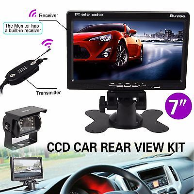 "Wireless Car Rear View System Backup CCD Camera Night Vision+ 7"" TFT LCD Monitor"