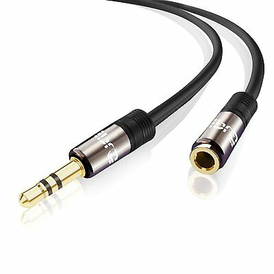 IBRA® 10m Stereo Jack Extension Cable 3.5mm Male > 3.5mm Female - Gun Metal