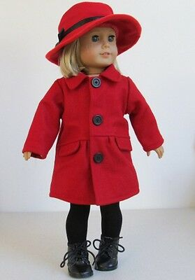 Doll Clothes Red Wool Coat+Hat Fit American Girl Dolls 903R