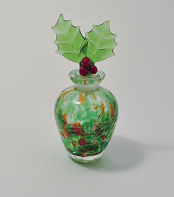 Green Crackle Glass Perfume Bottle Figural Holly Leaf Ground Glass Stopper
