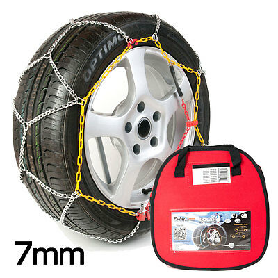 Polar 7mm Car Snow Chains for 215/50 r16 Tyre Size Easy Fit Winter Driving Pair