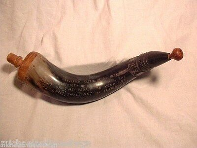 Carved Black Powder Hunting Horn With Inscription