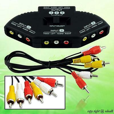 3 Way Audio Video AV RCA Switch Selector Box Splitter For XBOX PS3 PS2 DVD
