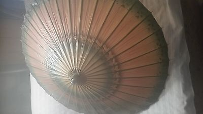 Vintage Painted Paper and Bamboo Umbrella/Parasol