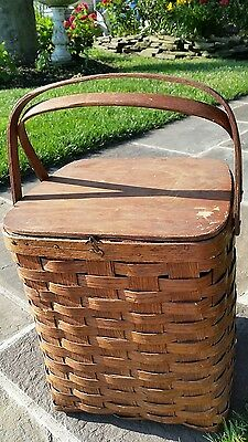 Antique Refrigerator Insulated Basket Woven Wicker Wood Picnic Basket