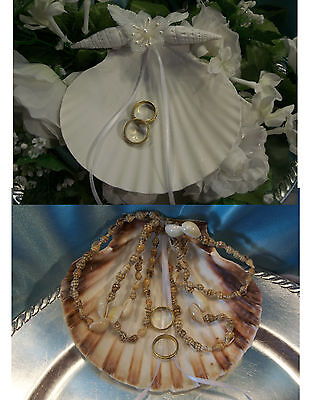Beach Wedding SEA SHELL Ring Bearer Pillow Ocean Tropical Hawaiian Seashell luau