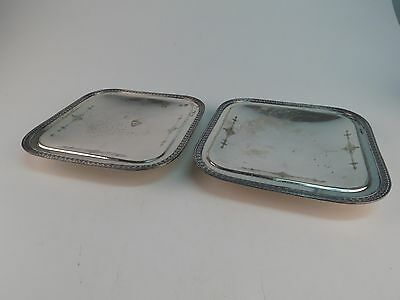 Lot Antique Homan Plate Nickel Silver WM Mounts Tray Plate Silver Plate Footed