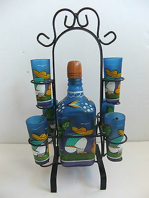 VTG DECANTER BAR SET BLUE/PURPLE GLASS JALISCO MEXICO TEQUILA/WROUGHT IRON CADDY