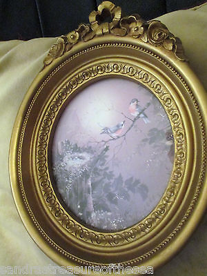 Vintage Homco 3279 Framed Picture Plaque Margie Morrow Birds with Nest 1980