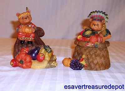 Home Interiors Thanksgiving Bear Decorative Containers