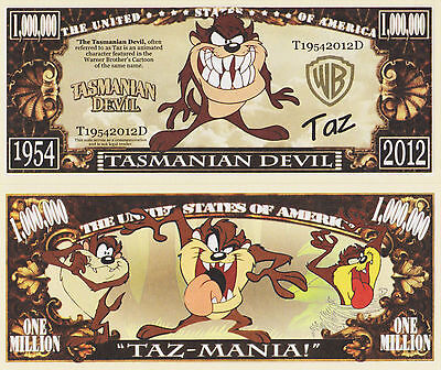 RARE: TAZ, Tasmanian Devil $1,000,000 Novelty Note, Cartoons Buy 5 Get one FREE