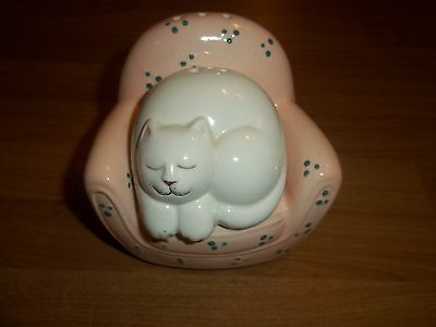 Clay Art Cat in a Chair Salt and Pepper Shakers