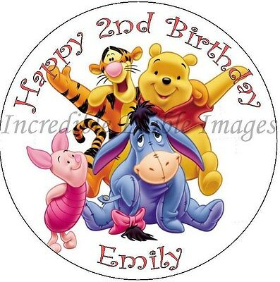 19cm Round Winnie The Pooh Personalised Edible ICING Cake Topper
