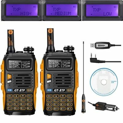 2* Baofeng GT-3TP Mark III + 1* Cable VHF/UHF Tri-Power 1/4/8W Ham Two-Way Radio