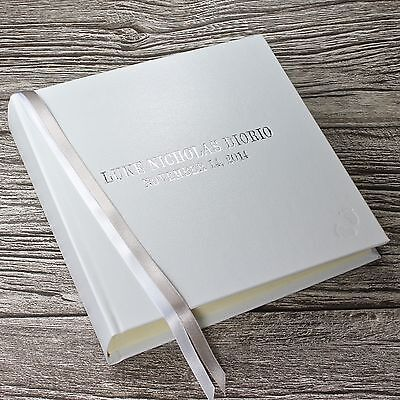Personalised newborn baby record book / memory book in white leather