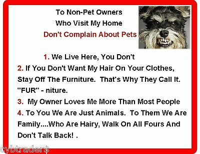 Funny Dog Schnauzer House Rules Refrigerator / Magnet Gift Card Insert