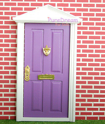 1:12 Scale Dollhouse Purple  Interior Wood Door With Metal Hardware Assembled