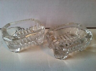 Pair of Footed Clear Glass Salt Cellars Long Octogon
