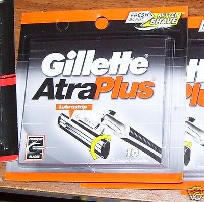 NEW GILLETTE ATRA PLUS 10 CARTRIDGES WITH LUBRASTRIP 10 BLADES SAVE $$$ FREE S/H