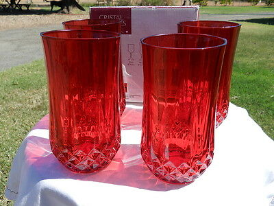 CRISTAL D'ARQUES LONGCHAMP RUBY RED GOBLETS/HIGHBALLS (4) 24% LEAD CRYSTAL*NIB