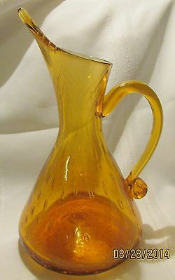Pitcher  BLOWN GLASS Golden Amber w/ Controlled Elongated Bubbles -10""