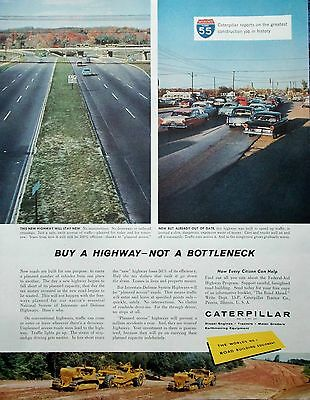 1958 Caterpillar Tractors Interstate 55 Illinois New Highway Not A Bottleneck ad
