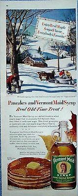 1950 Vermont Maid Maple Syrup Sugar On Snow Sugaring Time Tree Pails Oxen ad