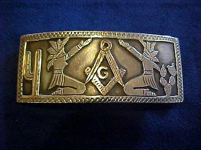 Vintage Sterling MASONIC Belt Buckle Mexico Signed CMS